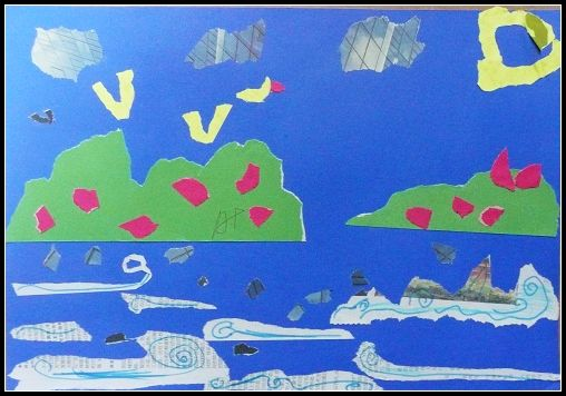 石家庄丑小鸭幼儿园皱纹纸贴画; 术手撕纸贴画作品欣赏_撕纸贴画,幼儿