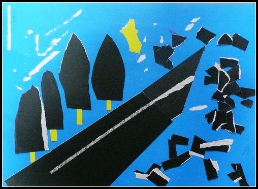 [图文]七年级上学期美术手撕纸贴画作品欣赏