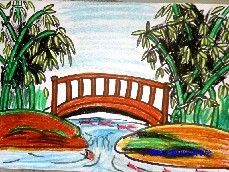 七年级下册《画家乡的风景》美术课作品展示图片